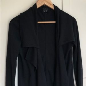 Theory Black Ribbed Cotton Blazer Open Cardigan DG